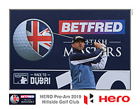 Wade Ormsby (AUS) on the 10th tee during the Pro-Am of the Betfred British Masters 2019 at Hillside Golf Club, Southport, Lancashire, England. 08/05/19<br /> <br /> Picture: Thos Caffrey / Golffile<br /> <br /> All photos usage must carry mandatory copyright credit (© Golffile | Thos Caffrey)