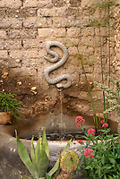 Serpent fountain in the Posada de las Minas, a luxury boutique hotel in Mineral de Pozos, Guanajuato, Mexico