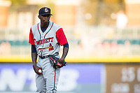 Gwinnett Braves starting pitcher Tyrell Jenkins (59) looks to his catcher for the sign against the Charlotte Knights at BB&T BallPark on August 11, 2015 in Charlotte, North Carolina.  The Knights defeated the Braves 3-2.  (Brian Westerholt/Four Seam Images)