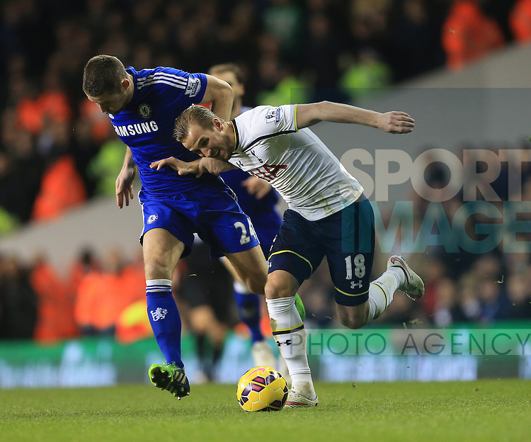 Tottenham's Harry Kane tussles with Chelsea's Gary Cahill<br /> <br /> Barclays Premier League - Tottenham Hotspur vs Chelsea - White Hart Lane  - England - 1st January 2015 - Picture David Klein/Sportimage
