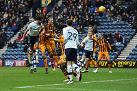 Greg Cunningham of Preston North End heads in the equaliser during Preston North End vs Hull City, Sky Bet EFL Championship Football at Deepdale on 3rd February 2018