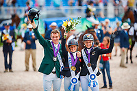 GBR-Rosalind Canter takes the Gold Medal for the FEI World Individual Eventing Championship.  Silver: IRL-Padraig McCarthy; Bronze: GER-Ingrid Klimke. 2018 FEI World Equestrian Games Tryon. Monday 17 September. Copyright Photo: Libby Law Photography