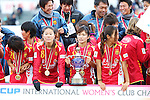 INAC Kobe Leonessa team group,<br /> DECEMBER 8, 2013 - Football / Soccer :<br /> Homare Sawa, Nahomi Kawasumi and Emi Nakajima of INAC Kobe Leonessa celebrate with the trophy after winning the mobcast cup International Women's Club Championship 2013 Final match between INAC Kobe Leonessa 4-2 Chelsea Ladies FC at Ajinomoto Field Nishigaoka in Tokyo, Japan. (Photo by Hitoshi Mochizuki/AFLO)