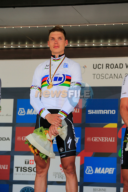 Tony Martin (GER) wins the gold medal and Rainbow Jersey in the Mens Individual Time Trial at the 2013 UCI World Championships held over a 58km course in Tuscany finishing in the city of Florence, Italy. 23rd September 2013.<br /> (Photo:Eoin Clarke/www.newsfile.ie)