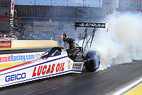 Apr 12, 2015; Las Vegas, NV, USA; NHRA top fuel driver Richie Crampton during the Summitracing.com Nationals at The Strip at Las Vegas Motor Speedway. Mandatory Credit: Mark J. Rebilas-