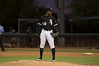 AZL White Sox starting pitcher Brayan Herrera (50) looks to his catcher for the sign during an Arizona League game against the AZL Athletics at Camelback Ranch on July 15, 2018 in Glendale, Arizona. The AZL White Sox defeated the AZL Athletics 2-1. (Zachary Lucy/Four Seam Images)