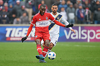 Bridgeview, IL - Saturday April 14, 2018: Tony Tchani, Sebastian Lletget during a regular season Major League Soccer (MLS) match between the Chicago Fire and the LA Galaxy at Toyota Park.  The LA Galaxy defeated the Chicago Fire by the score of 1-0.