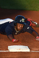 Cedar Rapids Kernels outfielder J.D. Williams (17) slides into third head first during a game against the Quad Cities River Bandits on August 18, 2014 at Perfect Game Field at Veterans Memorial Stadium in Cedar Rapids, Iowa.  Cedar Rapids defeated Quad Cities 4-2.  (Mike Janes/Four Seam Images)