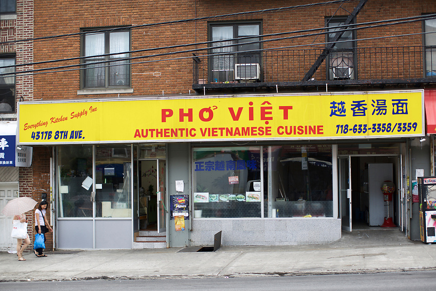 BROOKLYN, NY - July 8, 2015: Pho Viet, a Vietnamese restaurant on Eighth Avenue in Sunset Park.<br /> <br /> Credit: Clay Williams.<br /> <br /> &copy; Clay Williams / http://claywilliamsphoto.com