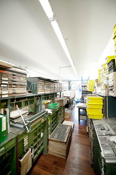 Le Typographe traditional printings technics studio in Brussels (Belgium, 30/07/2015)