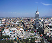 aerial photography of the Belles Artes museum and Torre Latino Americano in the central historic district of Mexico City, Mexico