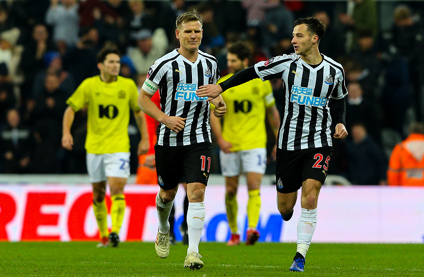 Newcastle United's Jamie Sterry congratulates Matt Ritchie after he levelled the score <br /> <br /> Photographer Alex Dodd/CameraSport<br /> <br /> Emirates FA Cup Third Round - Newcastle United v Blackburn Rovers - Saturday 5th January 2019 - St James' Park - Newcastle<br />  <br /> World Copyright © 2019 CameraSport. All rights reserved. 43 Linden Ave. Countesthorpe. Leicester. England. LE8 5PG - Tel: +44 (0) 116 277 4147 - admin@camerasport.com - www.camerasport.com