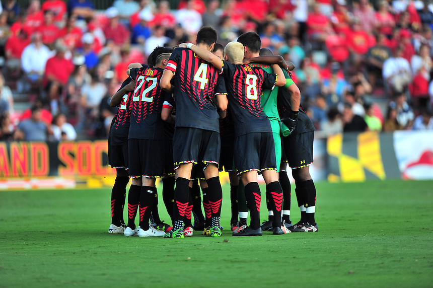 Maryland players huddle prior to the match against Penn State during an NCAA D-1 soccer match at Ludwig Field in College Park, MD on Sunday, September 18, 2016.  Alan P. Santos/DC Sports Box