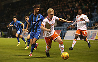 Blackpool's Mark Cullen and Gillingham's Luke O'Neill<br /> <br /> Photographer Rachel Holborn/CameraSport<br /> <br /> The EFL Sky Bet League One - Gillingham v Blackpool - Tuesday 6th November 2018 - Priestfield Stadium - Gillingham<br /> <br /> World Copyright &copy; 2018 CameraSport. All rights reserved. 43 Linden Ave. Countesthorpe. Leicester. England. LE8 5PG - Tel: +44 (0) 116 277 4147 - admin@camerasport.com - www.camerasport.com
