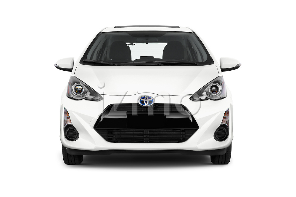 Car photography straight front view of a 2015 Toyota Prius c Three 5 Door Hatchback Front View