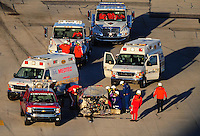 Feb 6, 2010; Daytona Beach, FL, USA; Rescue workers tend to ARCA RE/MAX Series driver Jill George (48) after she crashed during the Lucas Oil Slick Mist 200 at Daytona International Speedway. Mandatory Credit: Mark J. Rebilas-