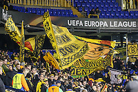 Borussia Dortmund fans wave flags ahead of the UEFA Europa League match between Tottenham Hotspur and Borussia Dortmund at White Hart Lane, London, England on 17 March 2016. Photo by David Horn / PRiME Media Images