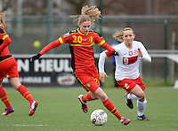 20140208 - OOSTAKKER , BELGIUM : Belgian Julie Biesmans pictured during a friendly soccer match between the women teams of Belgium and Poland , Saturday 8 February 2014 in Oostakker. PHOTO DAVID CATRY