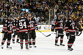 Steve Silva (Northeastern - 17), Garrett Vermeersch (Northeastern - 9), Tyler McNeely (Northeastern - 94), Brodie Reid (Northeastern - 15), Anthony Bitetto (Northeastern - 7), Drew Ellement (Northeastern - 2) - The Boston College Eagles defeated the Northeastern University Huskies 5-4 in their Hockey East Semi-Final on Friday, March 18, 2011, at TD Garden in Boston, Massachusetts.
