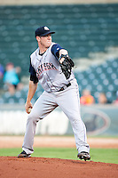 Colorado Springs Sky Sox pitcher Rob Scahill (35) during the Pacific League game against the Oklahoma City RedHawks at the Chickasaw Bricktown Ballpark on August 3, 2014 in Oklahoma City, Oklahoma.  The RedHawks defeated the Sky Sox 8-1.  (William Purnell/Four Seam Images)