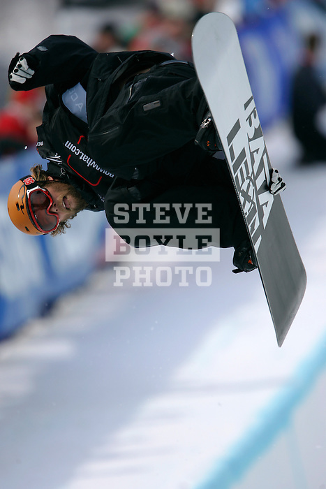 Justin Lamoureux (CAN) competes in the finals of the Nokia Snowboard FIS Half-Pipe World Cup at Whiteface Mountain in Lake Placid, New York on March 10, 2007.