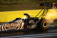 Sept. 21, 2012; Ennis, TX, USA: NHRA top fuel dragster driver Khalid Albalooshi during qualifying for the Fall Nationals at the Texas Motorplex. Mandatory Credit: Mark J. Rebilas-