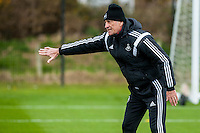 Tuesday 19 April 2016<br /> Pictured: Francesco Guidolin, Manager of Swansea City  during training<br /> Re: Swansea City Training Session ahead of the away game against Leicester City FC