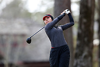 WALLACE, NC - MARCH 09: Kristen Min Ju Kim of Boston University tees off on the 16th hole of the River Course at River Landing Country Club on March 09, 2020 in Wallace, North Carolina.