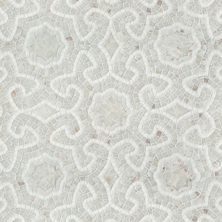 Juliana, a stone waterjet and hand-cut stone mosaic, shown in honed and hand-chopped tumbled Heavenly Cream and Thassos, designed by Paul Schatz for New Ravenna.