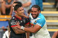 Issac Luke and Konrad Hurrell. Vodafone Warriors v Gold Coast Titans, NRL Rugby League round 2, Mt Smart Stadium, Auckland. 17 March 2018. Copyright Image: Renee McKay / www.photosport.nz