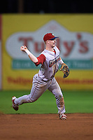 Williamsport Crosscutters shortstop Dylan Bosheers (17) throws to first during a game against the Batavia Muckdogs on August 28, 2015 at Dwyer Stadium in Batavia, New York.  Batavia defeated Williamsport 6-0.  (Mike Janes/Four Seam Images)