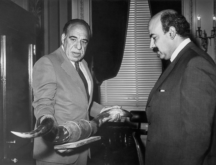 Rep. Henry B. Gonzalez, D-Tex., meets with the Mexican Ambassador, Dr. Jose Jean de Ollogui, in June 1972. (Photo by Dev O'Neill/CQ Roll Call)