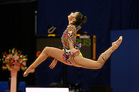 Alina Kabaeva of Russia split leaps to clubs recatch at 2006 Aeon Cup Worldwide Clubs Championships in rhythmic gymnastics on November19, 2006.<br />