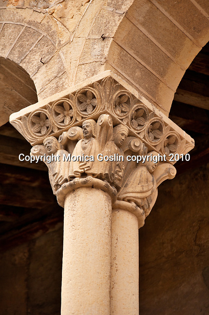 The detail of a column capital of the Church of San Martin, 11th century, in Segovia, Spain