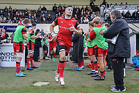 Hartpury RFC players enter the field of play ahead of the Greene King IPA Championship match between London Scottish Football Club and Hartpury RFC at Richmond Athletic Ground, Richmond, United Kingdom on 28 October 2017. Photo by David Horn.