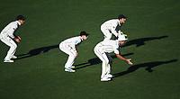 NZ slip cordon.<br /> New Zealand Blackcaps v England. 1st day/night test match. Eden Park, Auckland, New Zealand. Day 4, Sunday 25 March 2018. &copy; Copyright Photo: Andrew Cornaga / www.Photosport.nz