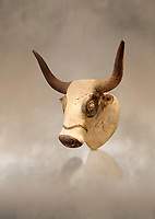 Minoan  bull's head rhython libation vessel, Machlos 1500-1450 BC; Heraklion Archaeological  Museum.