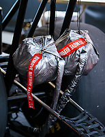 Jul 22, 2018; Morrison, CO, USA; Detailed view of parachute packs on an NHRA top fuel dragster during the Mile High Nationals at Bandimere Speedway. Mandatory Credit: Mark J. Rebilas-USA TODAY Sports