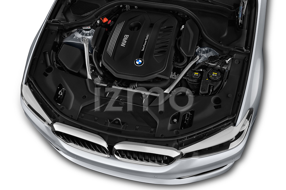 Car stock 2018 BMW 5 Series Sport 4 Door Sedan engine high angle detail view