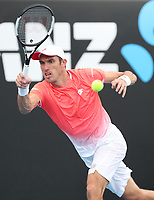 17th January 2019, Melbourne Park, Melbourne, Australia; Australian Open Tennis, day 4; Leonardo Mayer of Argentina returns the ball during a match against Fabio Fognini of Italy