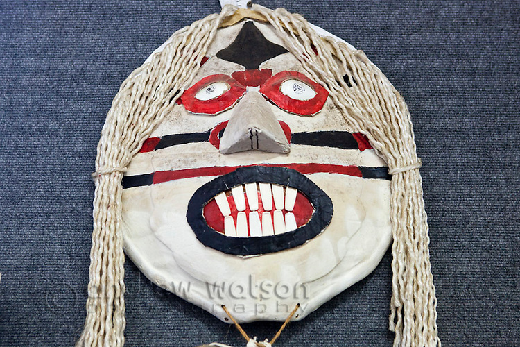 Witch doctors mask at the Torres Strait Heritage Museum.  Horn Island, Torres Strait Islands, Queensland, Australia