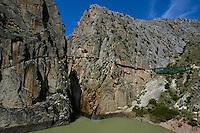 Bridge over Desfiladero de los Gaitanes, a 700m high pass in the El Chorro gorge, Andalusia, Spain.