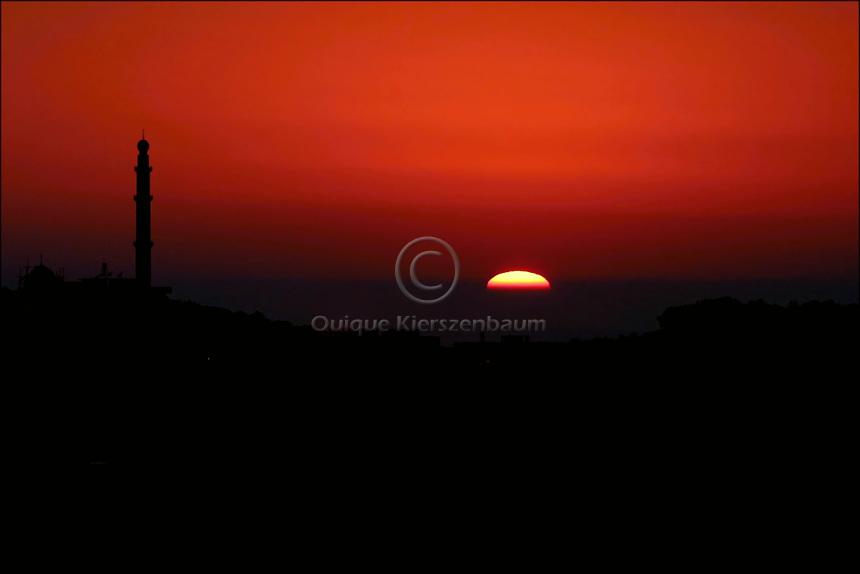 Sunset in Um el Fahem, June 2003.