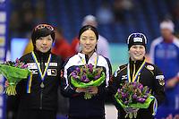 SCHAATSEN: HEERENVEEN: 12-12-2014, IJsstadion Thialf, ISU World Cup Speedskating, Podium Ladies 500m Division A, Nao Kodaira (JPN), Sang-Hwa Lee (KOR), Judith Hesse (GER), ©foto Martin de Jong