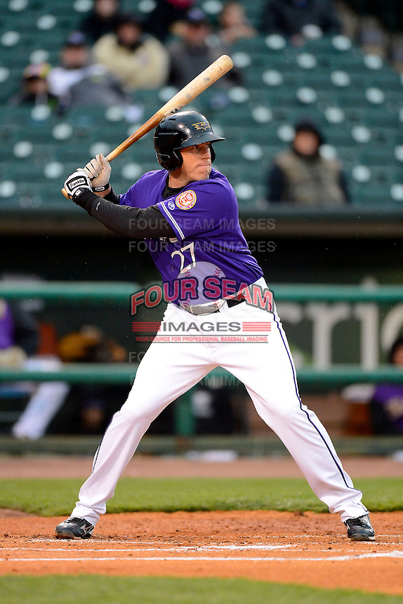 Louisville Bats third baseman Mike Hessman #27 during a game against the Indianapolis Indians on April 19, 2013 at Louisville Slugger Field in Louisville, Kentucky.  Indianapolis defeated Louisville 4-1.  (Mike Janes/Four Seam Images)
