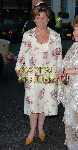 IMELDA STAUNTON.Glamour magazine's 3rd Annual Woman of the Year Awards Berkeley Square Gardens - Arrivals, London, UK. .June 6th, 2006 .Ref: CAN.full length floral print dress white jacket.www.capitalpictures.com.sales@capitalpictures.com.©Capital Pictures