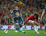 Marouane Fellaini of Manchester United tackles Pablo Hernandez of Celta Vigo during the Europa League Semi Final 2nd Leg match at Old Trafford Stadium, Manchester. Picture date: May 11th 2017. Pic credit should read: Simon Bellis/Sportimage