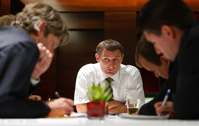Tony Mowbray briefs journalists in the Meridian Hotel, Hambug after the UEFA Europa League press conference