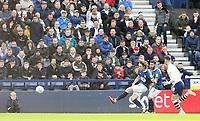 Blackburn Rovers' Sam Gallagher scores his side's second goal <br /> <br /> Photographer Rich Linley/CameraSport<br /> <br /> The EFL Sky Bet Championship - Preston North End v Blackburn Rovers - Saturday 26th October 2019 - Deepdale Stadium - Preston<br /> <br /> World Copyright © 2019 CameraSport. All rights reserved. 43 Linden Ave. Countesthorpe. Leicester. England. LE8 5PG - Tel: +44 (0) 116 277 4147 - admin@camerasport.com - www.camerasport.com