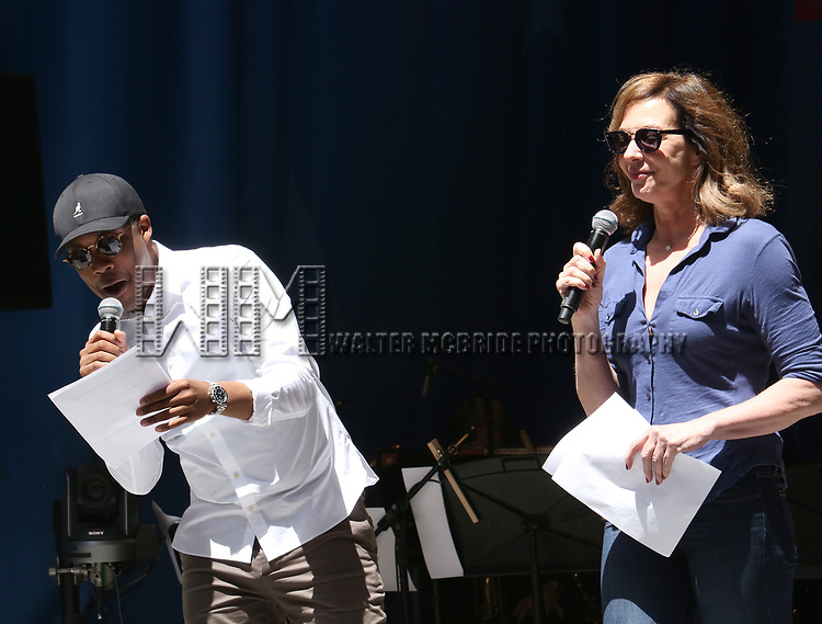 Corey Hawkins and Allison Janney on stage at United Airlines Presents #StarsInTheAlley free outdoor concert in Shubert Alley on 6/2/2017 in New York City.